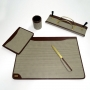 Set da scrivania Filippi 5 pezzi in tessuto quadrettato F205