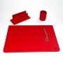Set da scrivania Munari 4 pezzi colore rosso - 90970000000
