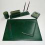 Set da scrivania Munari 6 pezzi in pelle colore verde