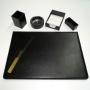Set da scrivania Tempora 6 pezzi in pelle colore nero NI120-N