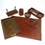 Set da scrivania Tempora 8 pezzi in cuoio colore marrone NI125