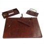 Set scrivania Tempora 5 pezzi in cuoio colore marrone NI132-M